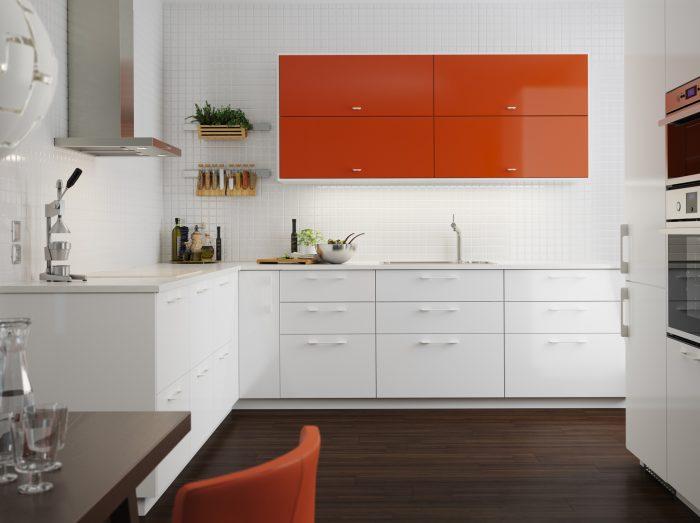 کابینت های گلاس رنگ سفید نارنجی
