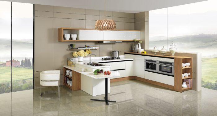 کابینت آشپزحانه های گلاس سفید کرم