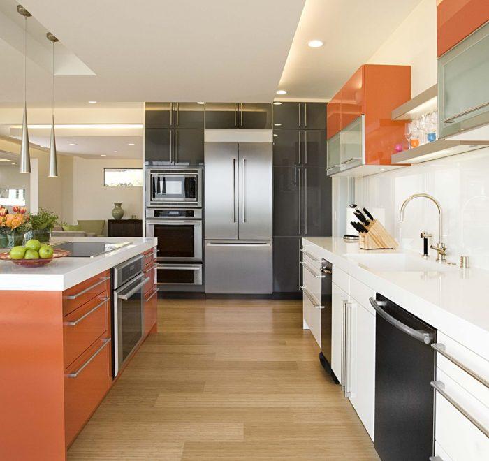 کابینت ترکیب رنگ نارنجی نقره ای