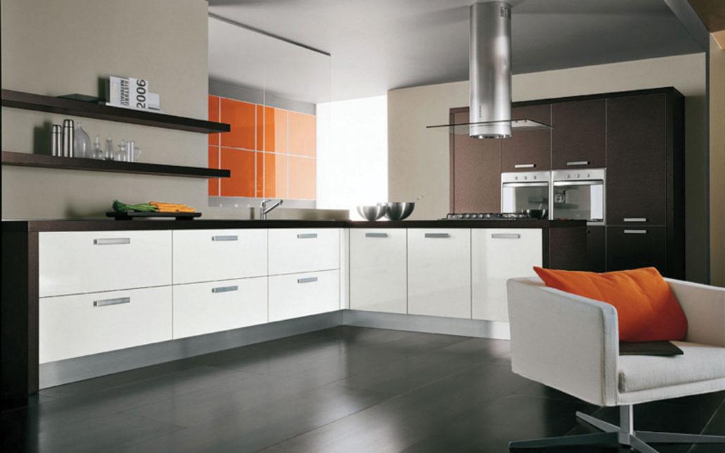 مدل کابینت آشپزخانه پی وی سی (PVC) سفید قهوه ای