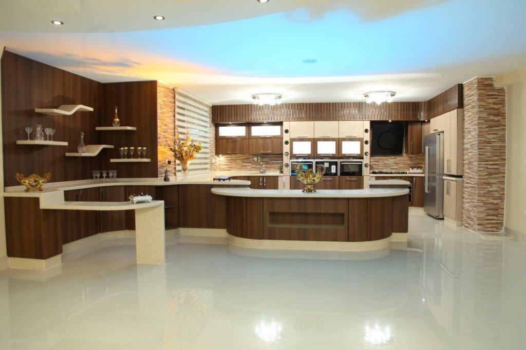کابینت آشپزخانه ام دی اف قهوه ای طرح چوب با طراحی بسیار زیبای مدرن