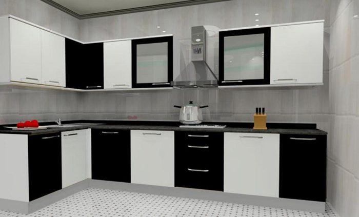 مدل کابینت آشپزخانه پی وی سی (PVC) سفید مشکی
