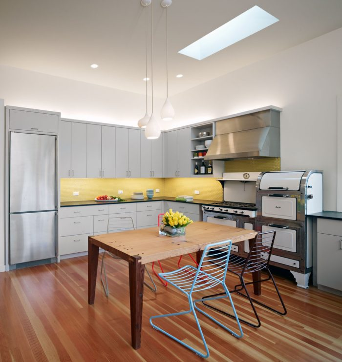 ترکیب رنگ زرد و خاکستری در کابینت