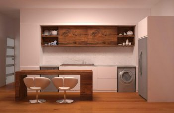کابینت ترکیب چوب و ام دی اف آشپزخانه مدرن مناسب سوئیت آپارتمان