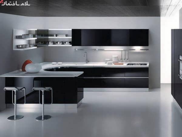 کابینت آشپزخانه مدرن سفید مشکی