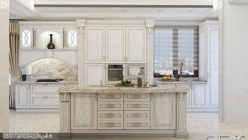 کابینت چوبی (روکش چوب) رنگ پلی استر سفید با اپن آشپزخانه جزیره