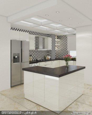 کابینت ام دی اف سفید مشکی یک مدل آشپزخانه ایرانی زیبا و جادار