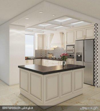 کابینت چوبی (روکش چوب) رنگ پلی استر سفید با رده های کرم آشپزخانه مخفی