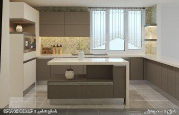 کابینت های گلاس ترکیب رنگ طوسی کرم با اپن آشپزخانه مدرن جزیره ای