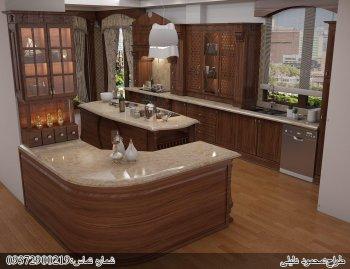 کابینت چوبی (روکش چوب) با طراحی خاص آشپزخانه مخفی با اپن جزیره و سنگ کورین