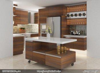 کابینت ام دی اف طرح چوب رنگ قهوه ای با اپن آشپزخانه مدرن متحرک