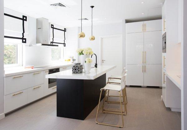 کابینت مدرن سفید طلایی