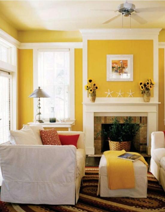رنگ زرد سفید دیوار