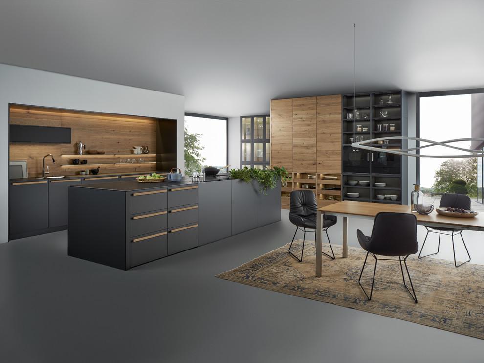 آشپزخانه مدرن با طراحی شگفت انگیز- ترکیب رنگ چوب با رنگ های تیره در خانه