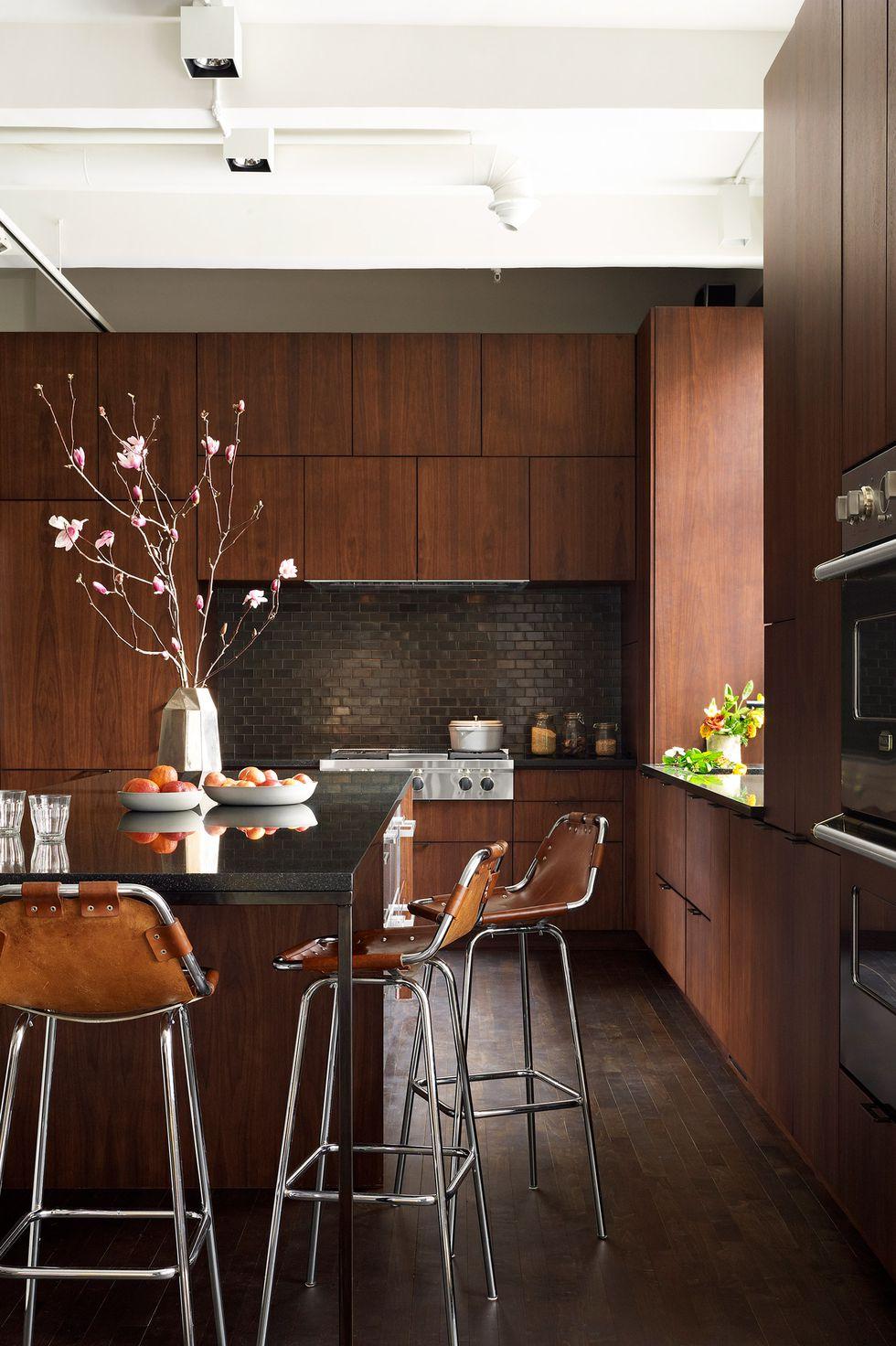 آشپزخانه مدرن-مدلکابینت مدرن قهوه ای تیره