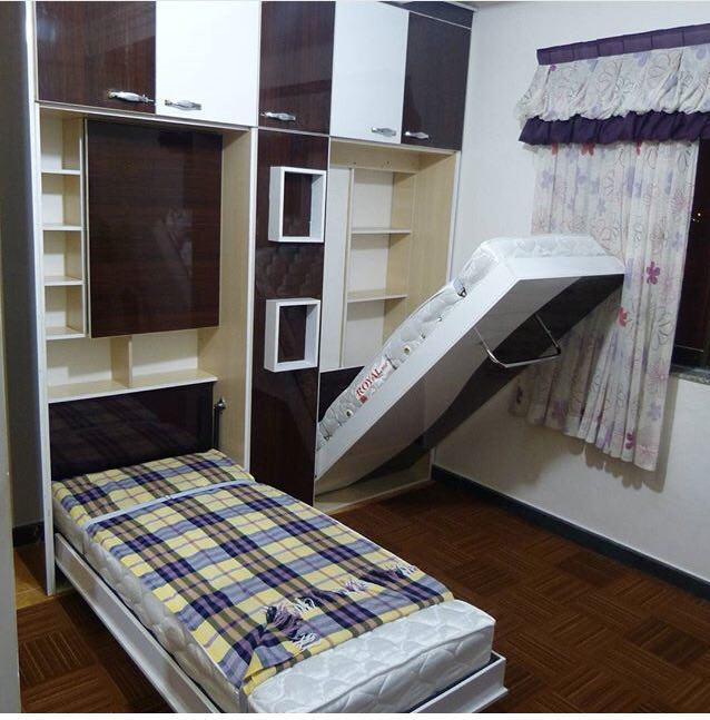 اتاق خواب با تخت کم جا
