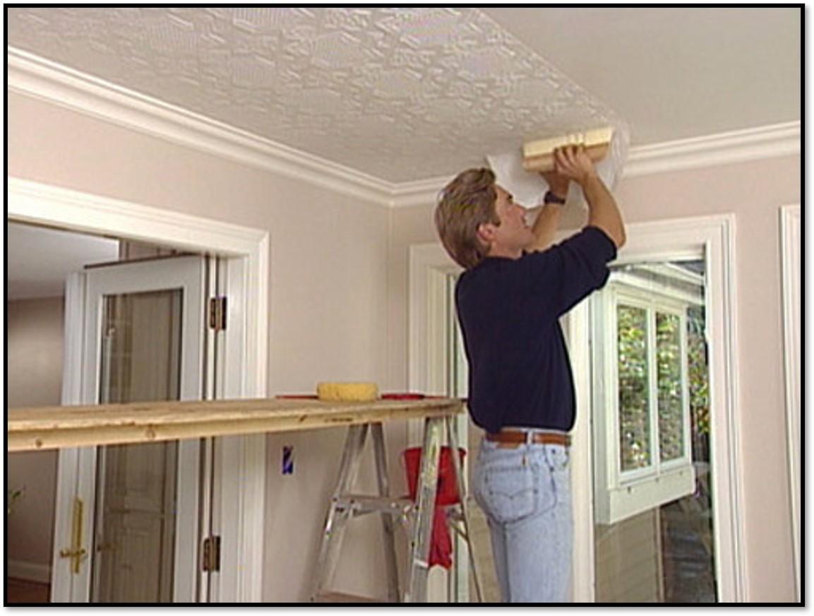 نصب کاغذ دیواری روی سقف