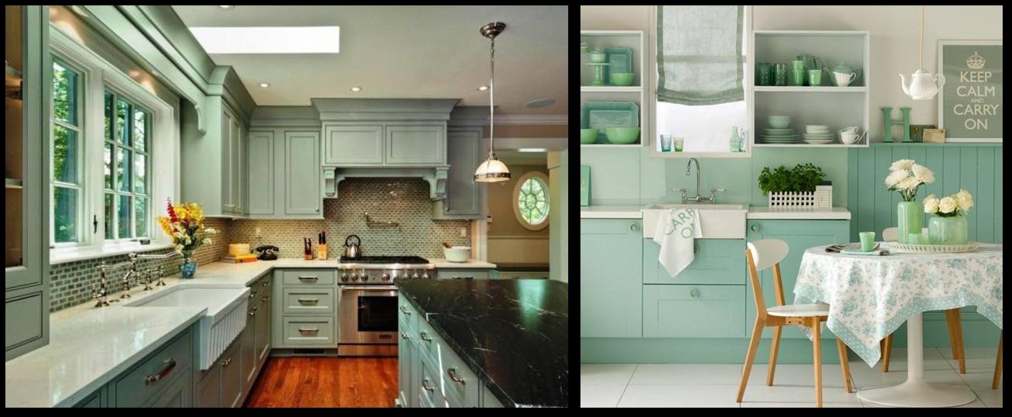 کابینت آشپزخانه سبز آبی