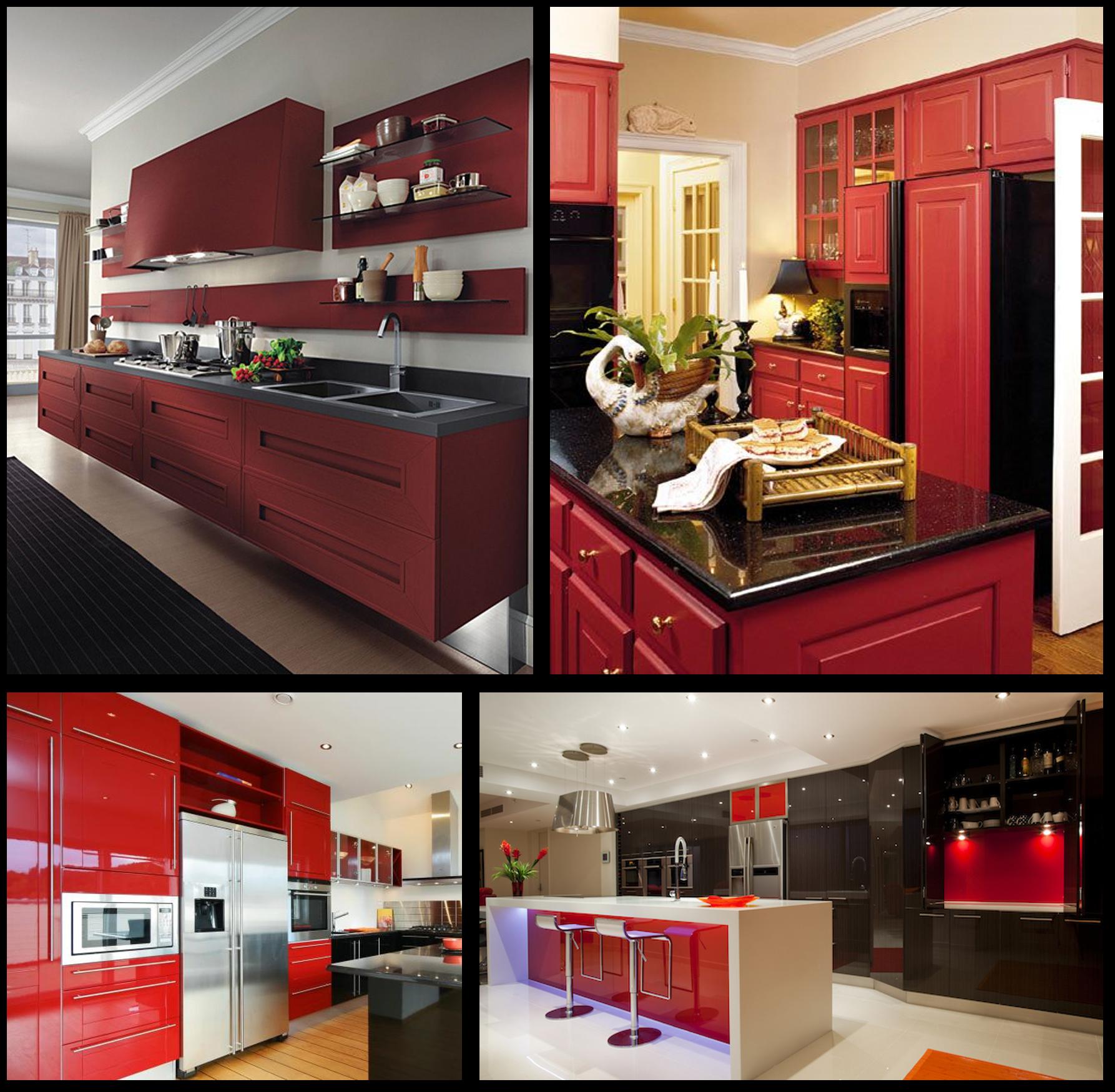 کابینت آشپزخانه قرمز