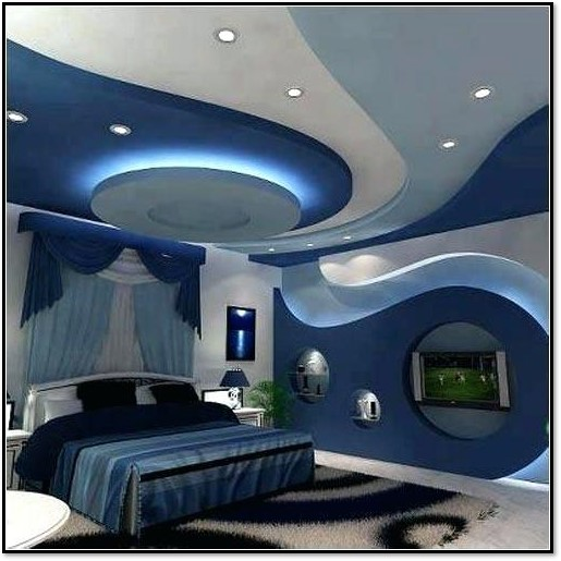 طرح آبی کناف در اتاق خواب